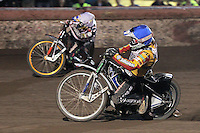 Heat 10: Danny King (blue) and Rory Schlein (white) - Lee Richardson Memorial Speedway Meeting at Arena Essex Raceway, Purfleet - 28/09/12 - MANDATORY CREDIT: Gavin Ellis/TGSPHOTO - Self billing applies where appropriate - 0845 094 6026 - contact@tgsphoto.co.uk - NO UNPAID USE.