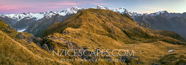 Twilight over Southern Alps with Mount Tasman and Aoraki, Mount Cook from Mt. Fox. Fox Glacier visible on leftm, Westland Tai Poutini National Park, West Coast, UNESCO World Heritage Area, New Zealand, NZ