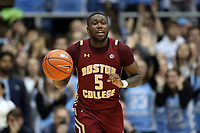 CHAPEL HILL, NC - FEBRUARY 1: Jay Heath #5 of Boston College brings the ball up the court during a game between Boston College and North Carolina at Dean E. Smith Center on February 1, 2020 in Chapel Hill, North Carolina.