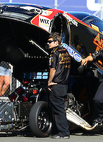 Jul. 26, 2013; Sonoma, CA, USA: NHRA crew member for funny car driver Tony Pedregon during qualifying for the Sonoma Nationals at Sonoma Raceway. Mandatory Credit: Mark J. Rebilas-