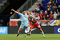 Harrison, NJ - Thursday Sept. 15, 2016: Oscar Ceren Delgado, Justin Bilyeu during a CONCACAF Champions League match between the New York Red Bulls and Alianza FC at Red Bull Arena.