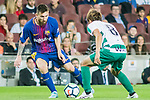 Lionel Andres Messi of FC Barcelona (L) fights for the ball with Takashi Inui of SD Eibar (R) during the La Liga 2017-18 match between FC Barcelona and SD Eibar at Camp Nou on 19 September 2017 in Barcelona, Spain. Photo by Vicens Gimenez / Power Sport Images