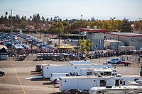 Nov 17, 2019; Pomona, CA, USA; NHRA fans wait in line for tickets to enter the Auto Club Finals at Auto Club Raceway at Pomona. Mandatory Credit: Mark J. Rebilas-USA TODAY Sports