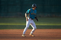 Jake Whitcomb (4) (Charlotte) of the Mooresville Spinners takes his lead off of second base against the Lake Norman Copperheads at Moor Park on July 6, 2020 in Mooresville, NC.  The Spinners defeated the Copperheads 3-2. (Brian Westerholt/Four Seam Images)