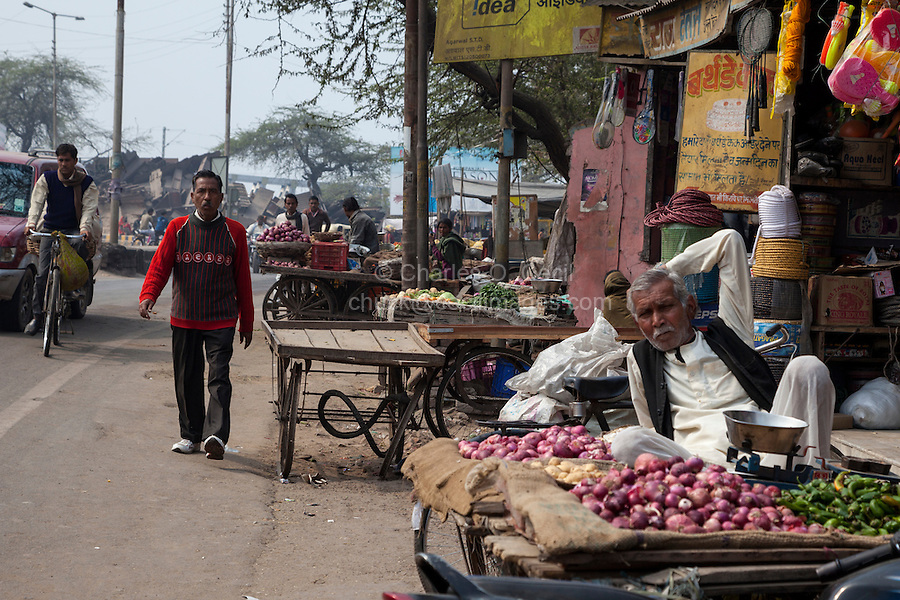 Agra, India.  Vendor Selling Onions and Peppers in a Streetside Market.