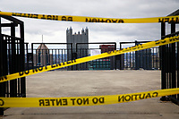 The Mount Washington overlooks are closed to the public due to COVID-19 on Tuesday March 31, 2020 in Pittsburgh, Pennsylvania. (Photo by Jared Wickerham/Pittsburgh City Paper)