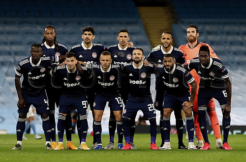 3rd November 2020; City of Manchester Stadium, Manchester, England. UEFA Champions League group stages, Manchester City versus Olympiacos team line up pre-game
