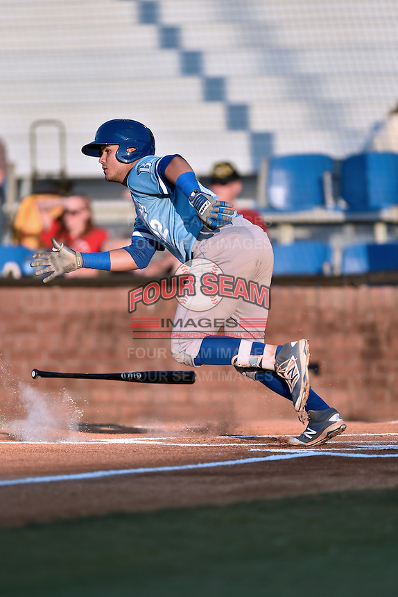 Burlington Royals second baseman Gabriel Cancel (12) swings at a pitch during Game Two of the Appalachian League Championship series against the Johnson City Cardinals at TVA Credit Union Ballpark on September 7, 2016 in Johnson City, Tennessee. The Cardinals defeated the Royals 11-6 to win the series 2-0.. (Tony Farlow/Four Seam Images)