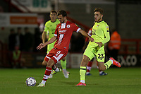Jack Powell of Crawley Town and Antony Papadopoulos of Leyton Orient during Crawley Town vs Leyton Orient, Papa John's Trophy Football at The People's Pension Stadium on 5th October 2021