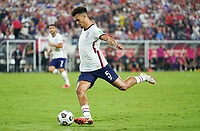 NASHVILLE, TN - SEPTEMBER 5: Antonee Robinson #5 of the United States clears a ball during a game between Canada and USMNT at Nissan Stadium on September 5, 2021 in Nashville, Tennessee.