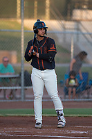 AZL Giants Black first baseman Angeddy Almanzar (12) at bat during an Arizona League game against the AZL Athletics at the San Francisco Giants Training Complex on June 19, 2018 in Scottsdale, Arizona. AZL Athletics defeated AZL Giants Black 8-3. (Zachary Lucy/Four Seam Images)