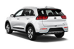 Car pictures of rear three quarter view of a 2018 KIA Niro LX PHEV 5 Door Hatchback angular rear
