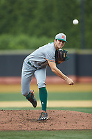 Miami Hurricanes starting pitcher Slade Cecconi (21) in action against the Wake Forest Demon Deacons at David F. Couch Ballpark on May 11, 2019 in  Winston-Salem, North Carolina. The Hurricanes defeated the Demon Deacons 8-4. (Brian Westerholt/Four Seam Images)