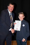 St Johnstone FC Academy Awards Night...06.04.15  Perth Concert Hall<br /> Tommy Wright presents a certificate to Kian Adams<br /> Picture by Graeme Hart.<br /> Copyright Perthshire Picture Agency<br /> Tel: 01738 623350  Mobile: 07990 594431