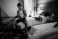 Esteban Chavez (COL/Mitchelton-Scott) preparing for a training ride in his hotel room<br /> <br /> restday 2 (27 may) of the 102nd Giro d'Italia 2019 <br /> <br /> ©kramon