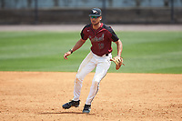 North Carolina Central Eagles first baseman Justin Bowers (19) on defense against the North Carolina A&T Aggies at Durham Athletic Park on April 10, 2021 in Durham, North Carolina. (Brian Westerholt/Four Seam Images)