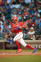Jordyn Adams (3) of Green Hope High School in Cary, North Carolina at bat during the Under Armour All-American Game presented by Baseball Factory on July 29, 2017 at Wrigley Field in Chicago, Illinois.  (Mike Janes/Four Seam Images)