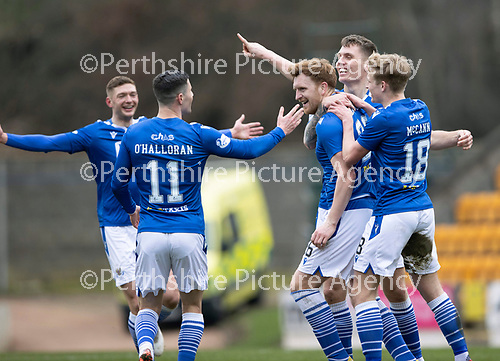 St Johnstone v Hibs …06.03.21   McDiarmid Park   SPFL<br />Liam Craig celebrates his goal with Jason Kerr and Ali McCann and Michael O'Halloran<br />Picture by Graeme Hart.<br />Copyright Perthshire Picture Agency<br />Tel: 01738 623350  Mobile: 07990 594431