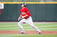 July 22, 2009:  Bubba Bell of the Pawtucket Red Sox leads off second base during a game at Frontier Field in Rochester, NY.  Pawtucket is the Triple-A International League affiliate of the Boston Red Sox.  Photo By Mike Janes/Four Seam Images