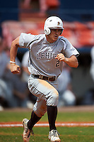 Lehigh Mountain Hawks second baseman Mike Garzillo (2) runs to first after hitting a home run during a game against the Dartmouth Big Green on March 20, 2016 at Chain of Lakes Stadium in Winter Haven, Florida.  Dartmouth defeated Lehigh 5-4.  (Mike Janes/Four Seam Images)
