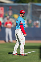 Spokane Indians manager Kenny Holmberg during a Northwest League game against the Vancouver Canadians at Avista Stadium on September 2, 2018 in Spokane, Washington. The Spokane Indians defeated the Vancouver Canadians by a score of 3-1. (Zachary Lucy/Four Seam Images)