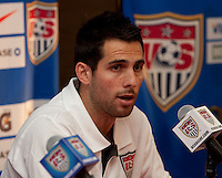 Carlos Bocanegra of the US Men's National Team during a press conference in Chicago, Illinois prior to their match vs. Honduras..