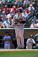 Scranton/Wilkes-Barre RailRiders Logan Morrison (5) bats during an International League game against the Rochester Red Wings on June 25, 2019 at Frontier Field in Rochester, New York.  Rochester defeated Scranton 10-9.  (Mike Janes/Four Seam Images)