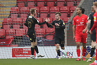 Alfie McCalmont of Oldham Athletic (25) scores the first goal for his team and celebrates during Leyton Orient vs Oldham Athletic, Sky Bet EFL League 2 Football at The Breyer Group Stadium on 27th March 2021