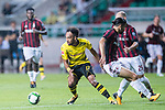 Borussia Dortmund Forward Pierre-Emerick Aubameyang (L) in action during the International Champions Cup 2017 match between AC Milan vs Borussia Dortmund at University Town Sports Centre Stadium on July 18, 2017 in Guangzhou, China. Photo by Marcio Rodrigo Machado / Power Sport Images