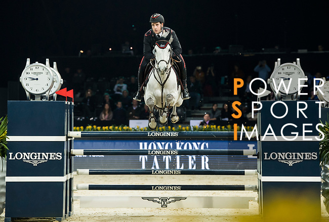 Emanuele Gaudiano of Italy riding Einstein competes in the Longines Speed Challenge during the Longines Masters of Hong Kong at AsiaWorld-Expo on 10 February 2018, in Hong Kong, Hong Kong. Photo by Diego Gonzalez / Power Sport Images