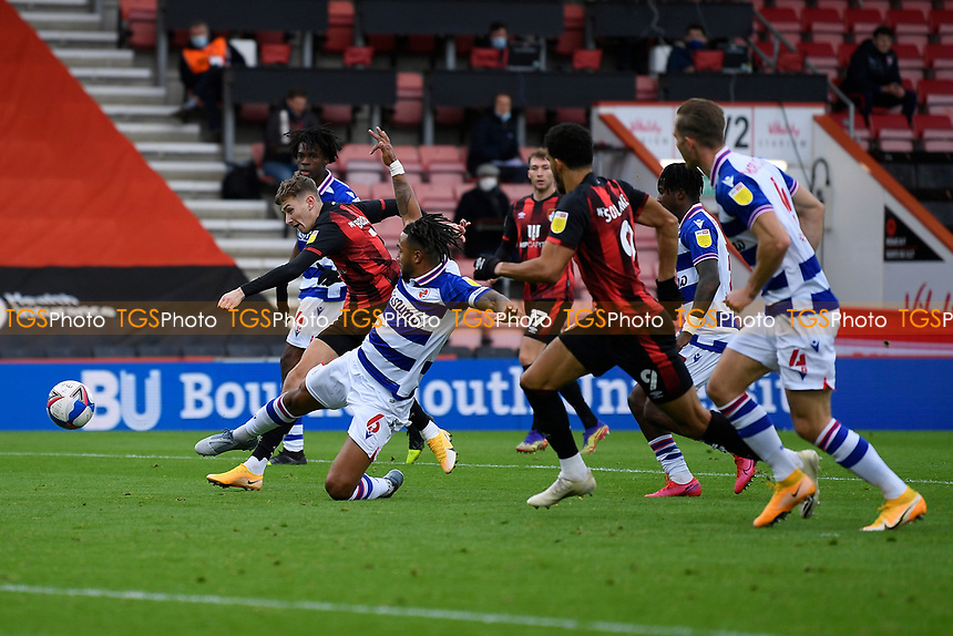 David Brooks of AFC Bournemouth has a shot on goal under pressure from Liam Moore of Reading during AFC Bournemouth vs Reading, Sky Bet EFL Championship Football at the Vitality Stadium on 21st November 2020