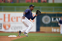 Lake County Captains second baseman Miguel Eladio (30) waits to receive a throw during the second game of a doubleheader against the West Michigan Whitecaps on August 6, 2017 at Classic Park in Eastlake, Ohio.  West Michigan defeated Lake County 9-0.  (Mike Janes/Four Seam Images)