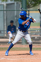 Chicago Cubs outfielder Roberto Caro (13) during a Minor League Spring Training game against the Colorado Rockies at Sloan Park on March 27, 2018 in Mesa, Arizona. (Zachary Lucy/Four Seam Images)