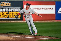 Charlie Tilson (16) of the Memphis Redbirds on defense against the Salt Lake Bees in Pacific Coast League action at Smith's Ballpark on May 24, 2016 in Salt Lake City, Utah. The Bees defeated the Redbirds 7-5. (Stephen Smith/Four Seam Images)