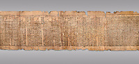 "Ancient Egyptian Book of the Dead papyrus - Spell 81a assuming the form of a lotus associated with the sun god, Iufankh's Book of the Dead, Ptolemaic period (332-30BC).Turin Egyptian Museum. Grey Background<br /> <br /> <br /> The spell reads "" I am a pure lotus that has ascended by the Sinlight and ia at Ra's nose. I spend my time shedding it on Horus. I am the pure lotus that ascended from the field"". <br /> <br /> The translation of  Iuefankh's Book of the Dead papyrus by Richard Lepsius marked a truning point in the studies of ancient Egyptian funereal studies."