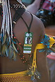 Edson Onaezokae Paresi wears his Brazilian Delegation tag with traditional beads and feathers during the International Indigenous Games, in the city of Palmas, Tocantins State, Brazil. Photo © Sue Cunningham, pictures@scphotographic.com 26th October 2015