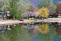 Reflections in Osoyoos Lake at Osoyoos, in the South Okanagan Valley, British Columbia, Canada, in Spring