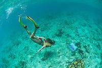 Katy Day snorkeling the underwater trail.Trunk Bay, St John.Virgin Islands National Park