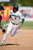 Beloit Snappers shortstop Eric Marinez (2) runs the bases during a game against the Bowling Green Hot Rods on May 7, 2017 at Pohlman Field in Beloit, Wisconsin.  Bowling Green defeated Beloit 6-2.  (Mike Janes/Four Seam Images)