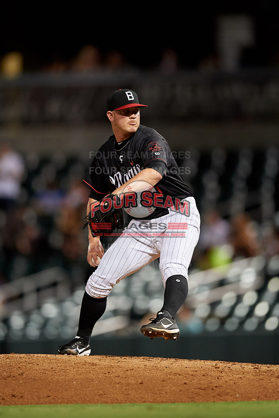 Birmingham Barons relief pitcher Matt Foster (20) delivers a pitch during a game against the Tennessee Smokies on August 16, 2018 at Regions FIeld in Birmingham, Alabama.  Tennessee defeated Birmingham 11-1.  (Mike Janes/Four Seam Images)