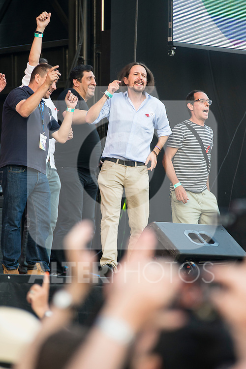 "Leader ""Podemos"" Pablo Iglesias dancing at the protest during Gay Pride celebrations in Madrid, Spain. July 04, 2015.<br />  (ALTERPHOTOS/BorjaB.Hojas)"