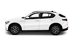 Car Driver side profile view of a 2020 Alfaromeo Stelvio Super 5 Door SUV Side View