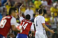 Pasadena, CA - Tuesday June 07, 2016: Paraguay defender Paulo Da Silva (14) during a Copa America Centenario Group A match between Colombia (COL) and Paraguay (PAR) at Rose Bowl Stadium.