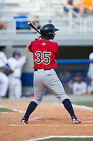 Ariel Montesino (35) of the Elizabethton Twins at bat against the Kingsport Mets at Hunter Wright Stadium on July 9, 2015 in Kingsport, Tennessee.  The Twins defeated the Mets 9-7 in 11 innings. (Brian Westerholt/Four Seam Images)