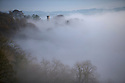20/01/17<br />  <br /> After days of gloomy weather, blue skies appear above Victoria Prospect Tower seen poking through the mist as a cloud inversion shrouds the Derwent Valley, above Matlock Bath in the Derbyshire Peak District.<br /> <br /> All Rights Reserved F Stop Press Ltd. (0)1773 550665   www.fstoppress.com