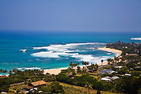View of Sunset Beach from above, North Shore of Oahu, Hawaii