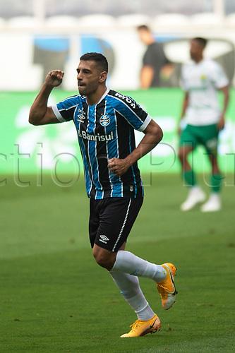 18th November 2020; Arena de Gremio, Porto Alegre, Brazil; Brazil Cup, Gremio versus Cuiaba; Diego Souza of Gremio celebrates his goal in the 10th minute 1-0