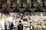 A special section in a tribute of David Bowie displays various posters of his latest album Blackstar at Tower Records in Shibuya on January 12, 2016, Tokyo, Japan. Tower Records created a special section for the British singer, songwriter and actor David Bowie, who died of cancer at the age of 69 on January 10, 2016. His recently released album Blackstar is now sold out in Japan. (Photo by Rodrigo Reyes Marin/AFLO)