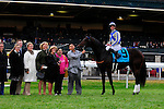 31 October 2009: Blame (no 9), ridden by Jamie Theriot, and trained by Albert M. Stall Jr. poses for photos with his connections after winning the 51st running of the $150,000 Fayette Grade II stakes race.