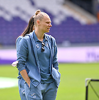 Ella Van Kerkhoven (3) of Anderlecht pictured ahead of a female soccer game between RSC Anderlecht Dames and Sporting Charleroi  on the second matchday of the 2021 - 2022 season of Belgian Womens Super League , saturday 28 th of August 2021  in Brussels , Belgium . PHOTO SPORTPIX   DAVID CATRY
